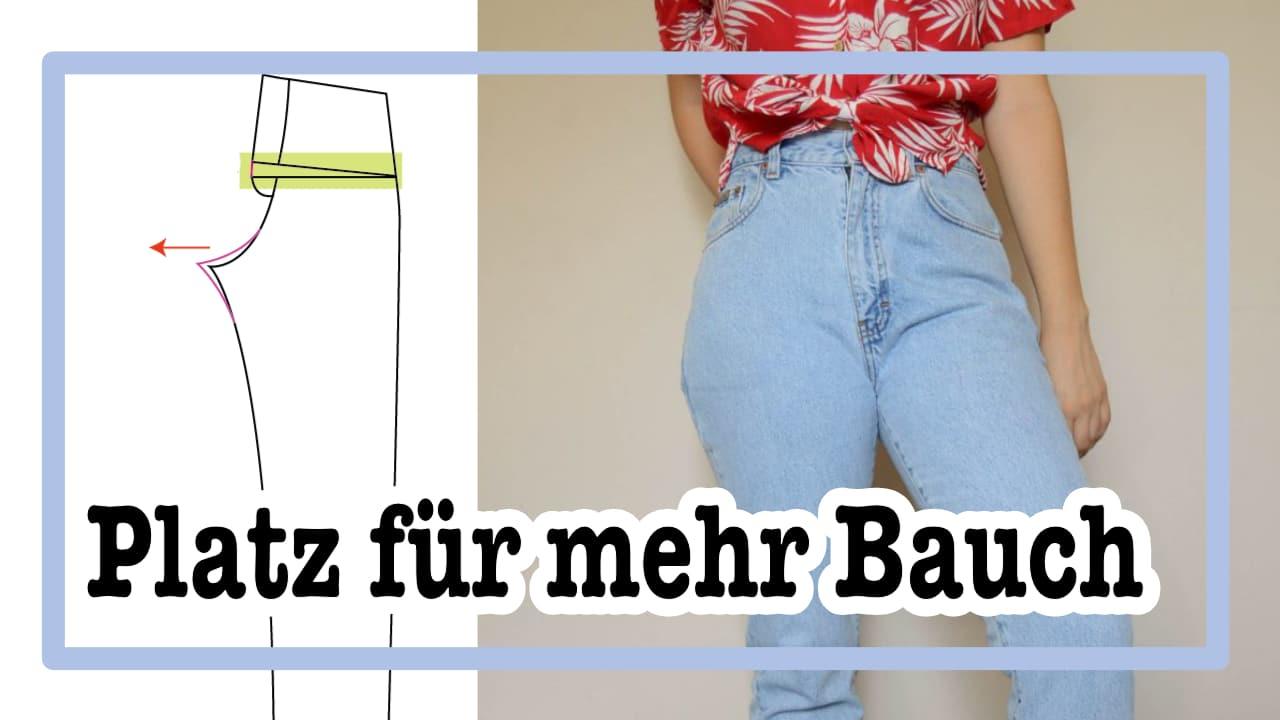 Schnittmuster einer Hose für mehr Bauch anpassen