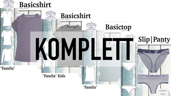 Set Fanéla Komplett Schnittmuster Basic Shirt Top Slip Panty | einfach nähen lernen