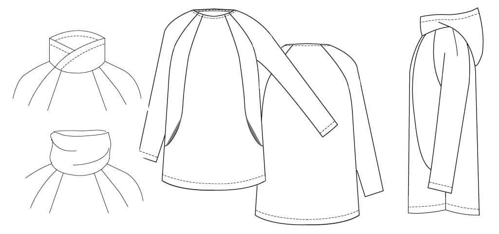 Technische Zeichnung KAJA_B von B-PATTERNS | einfach nähen